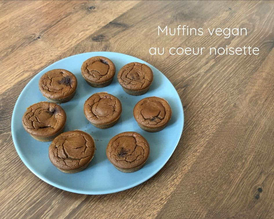 Muffins vegan au coeur noisette